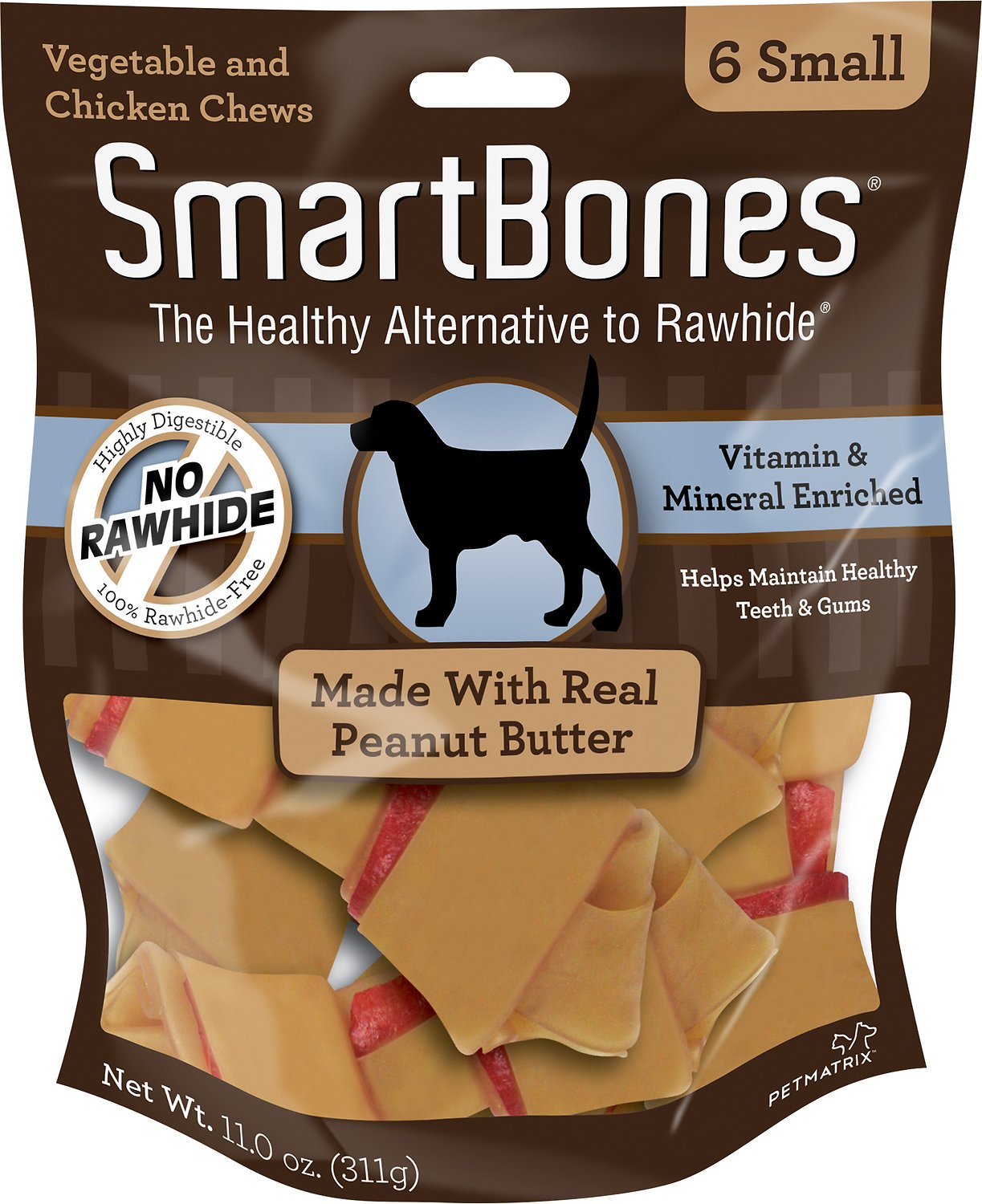 SmartBones Small Peanut Butter Chew Bones Dog Treats, 6 pack