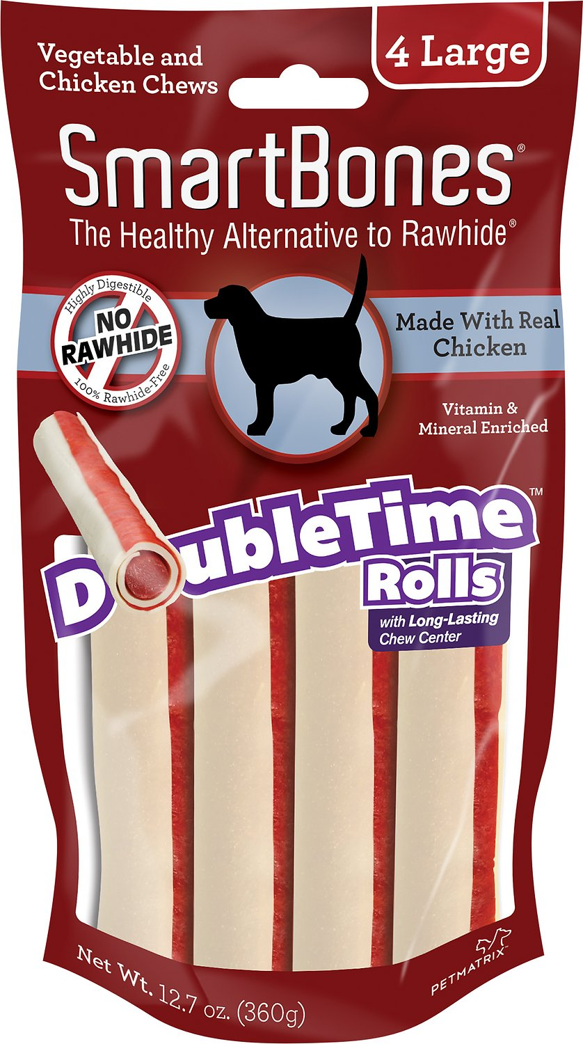SmartBones Large DoubleTime Chicken Rolls Dog Treats, 4 pack