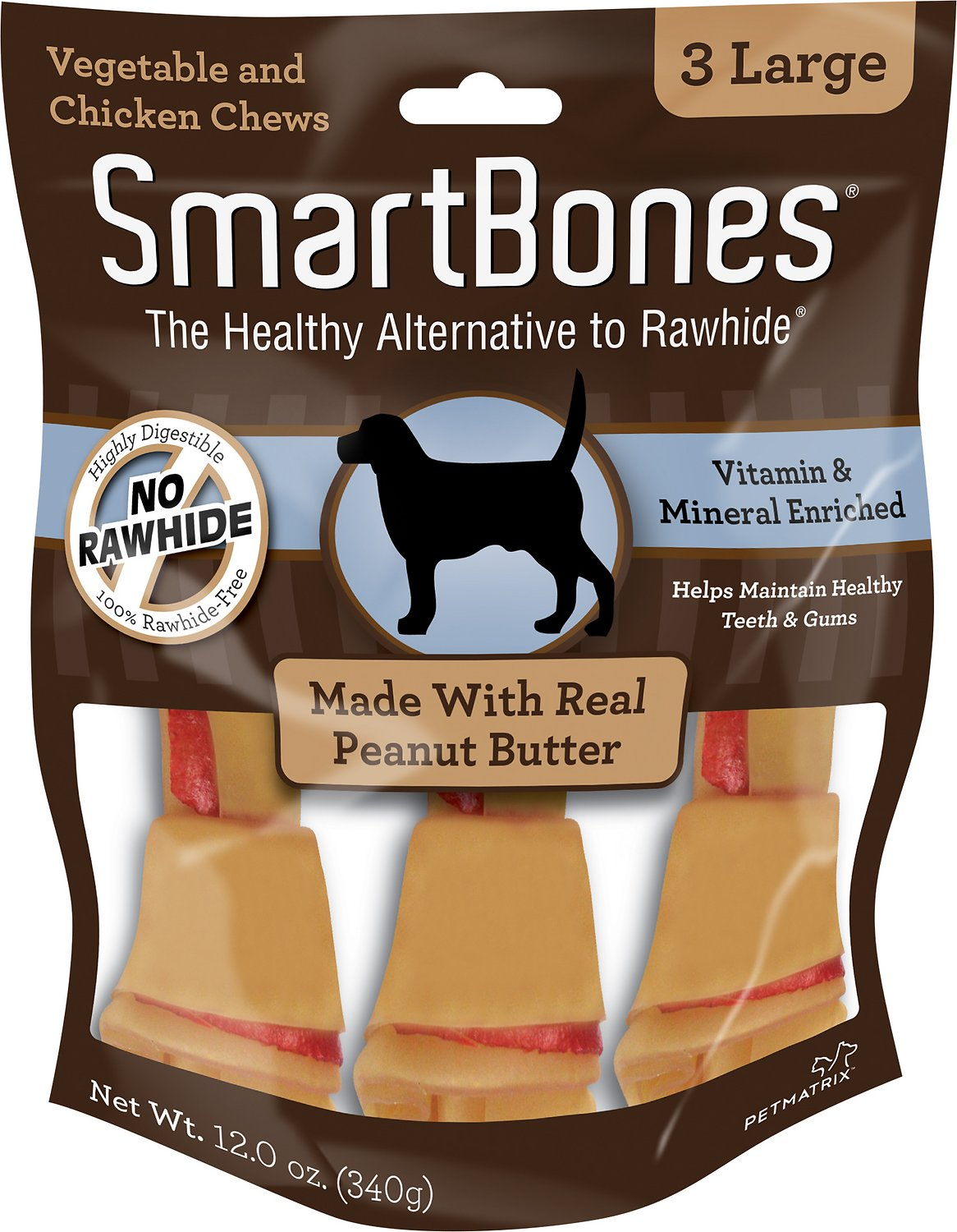 SmartBones Large Peanut Butter Chew Bones Dog Treats, 3 pack