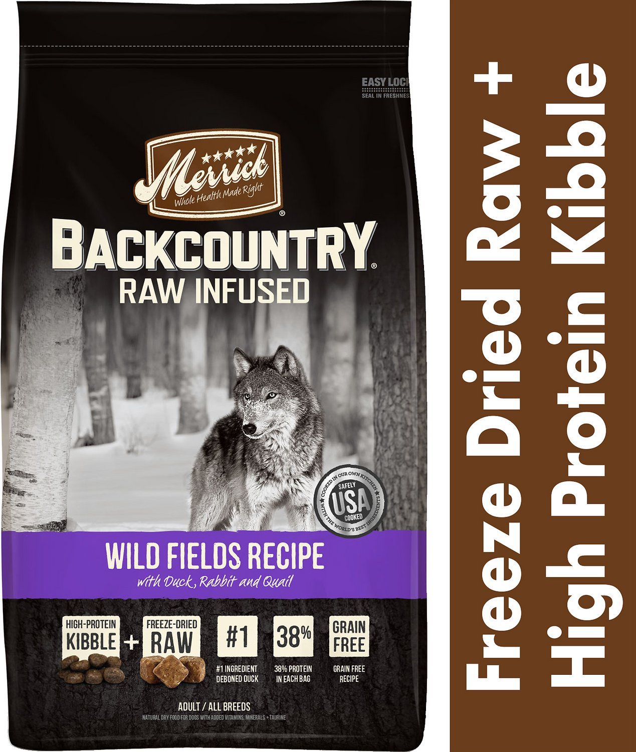 Merrick Backcountry Raw Infused Wild Fields Recipe Duck, Rabbit, & Quail Grain-Free Dry Dog Food, 4-lb