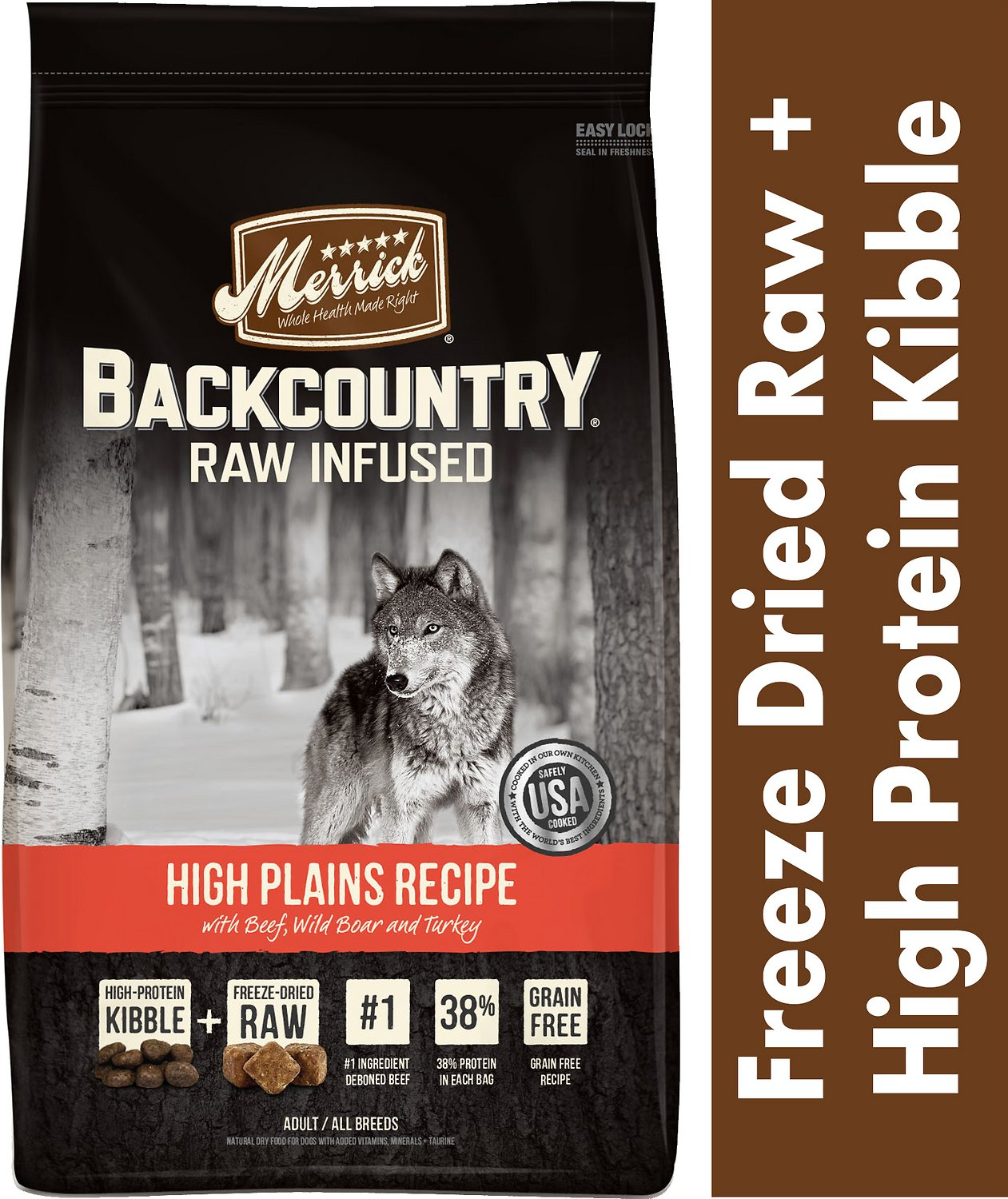 Merrick Backcountry Raw Infused High Plains Recipe with Beef, Wild Boar, & Turkey Grain-Free Dry Dog Food, 12-lb