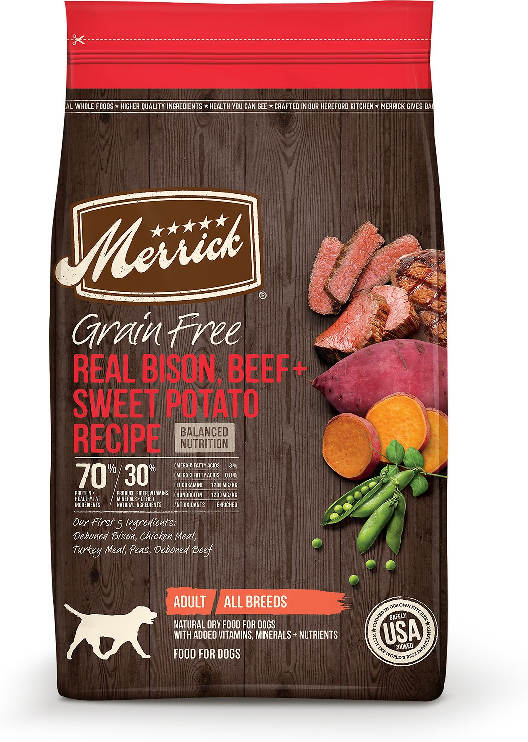 Merrick Real Bison, Beef + Sweet Potato Recipe Grain-Free Dry Dog Food Image