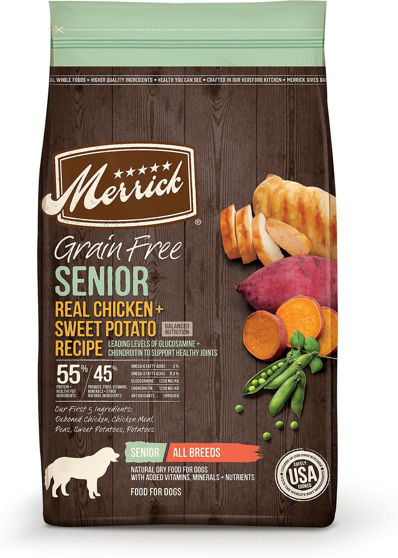 Merrick Real Chicken & Sweet Potato Recipe Grain Free Senior Dry Dog Food, 4-lb