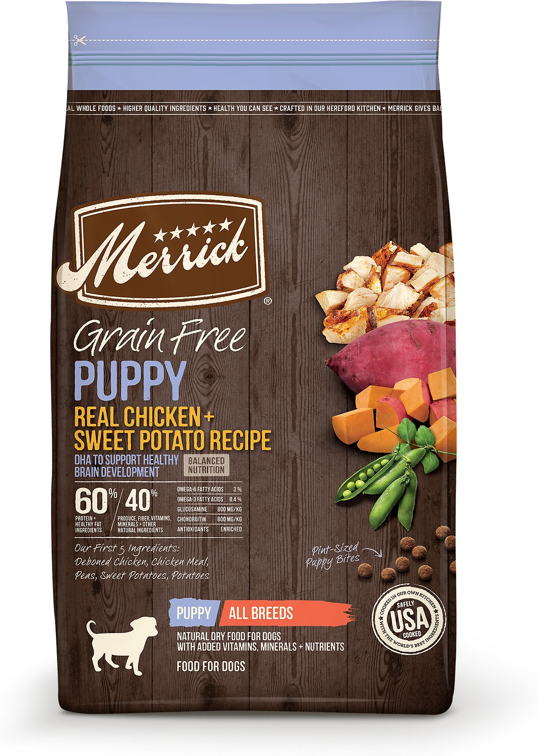 Merrick Grain-Free Puppy Real Chicken & Sweet Potato Recipe Dry Dog Food, 22-lb