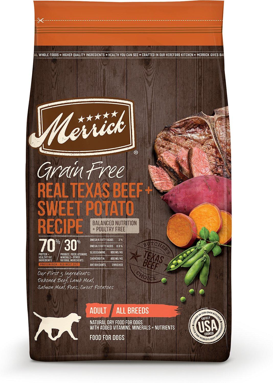 Merrick Grain-Free Real Texas Beef + Sweet Potato Recipe Dry Dog Food, 10-lb