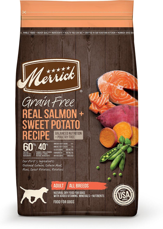 Merrick Grain-Free Real Salmon & Sweet Potato Recipe Adult Dry Dog Food, 4-lb