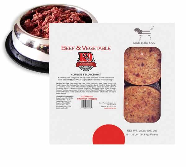 K-9 Kraving Beef & Vegetable Patties Raw Frozen Dog Food, 2-lb
