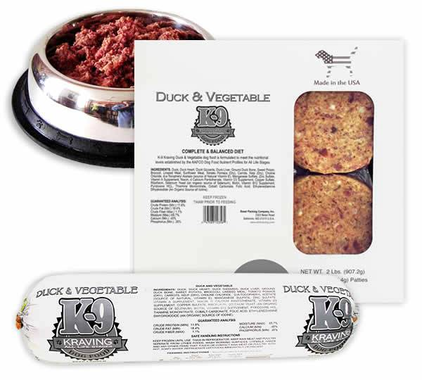 K-9 Kraving Duck & Vegetable Patties Raw Frozen Dog Food, 2-lb