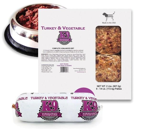 K-9 Kraving Turkey & Vegetable Patties Raw Frozen Dog Food, 2-lb