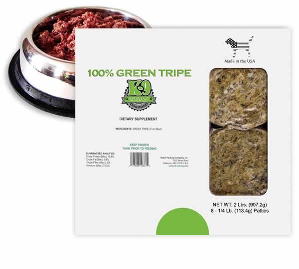 K-9 Kraving Green Tripe Patties Raw Frozen Dog Food, 2-lb