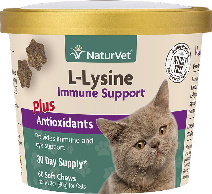 NaturVet L-Lysine Immune Support Plus Antioxidants Cat Supplement, 60-count