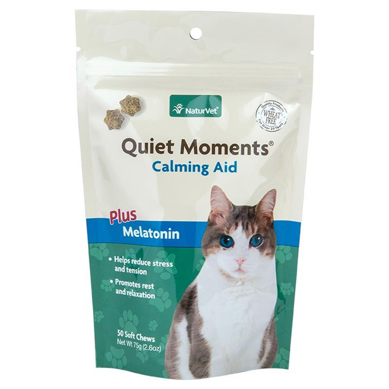 NaturVet Quiet Moments Calming Aid Plus Melatonin Cat Supplement, 50-count