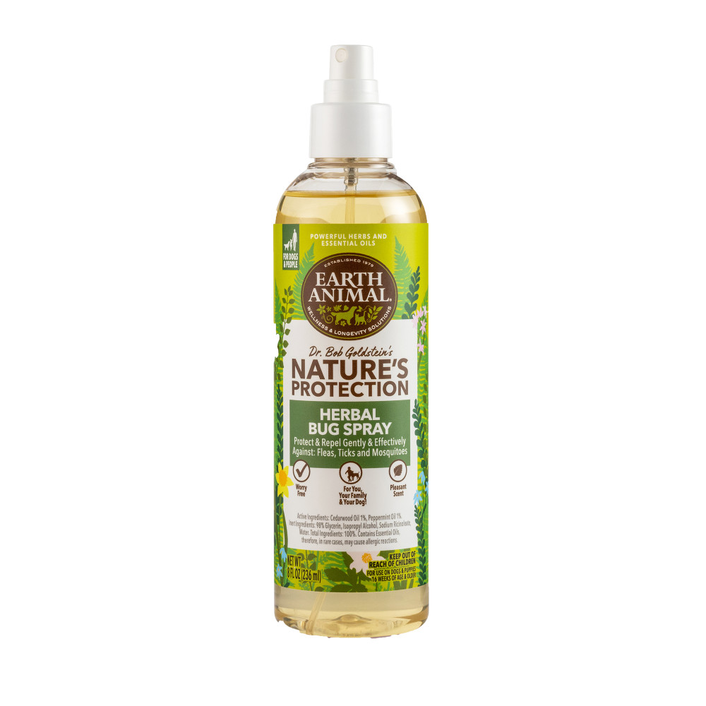 Earth Animal Nature's Protection Flea & Tick Prevention Herbal Bug Spray for Dogs & People, 8-oz