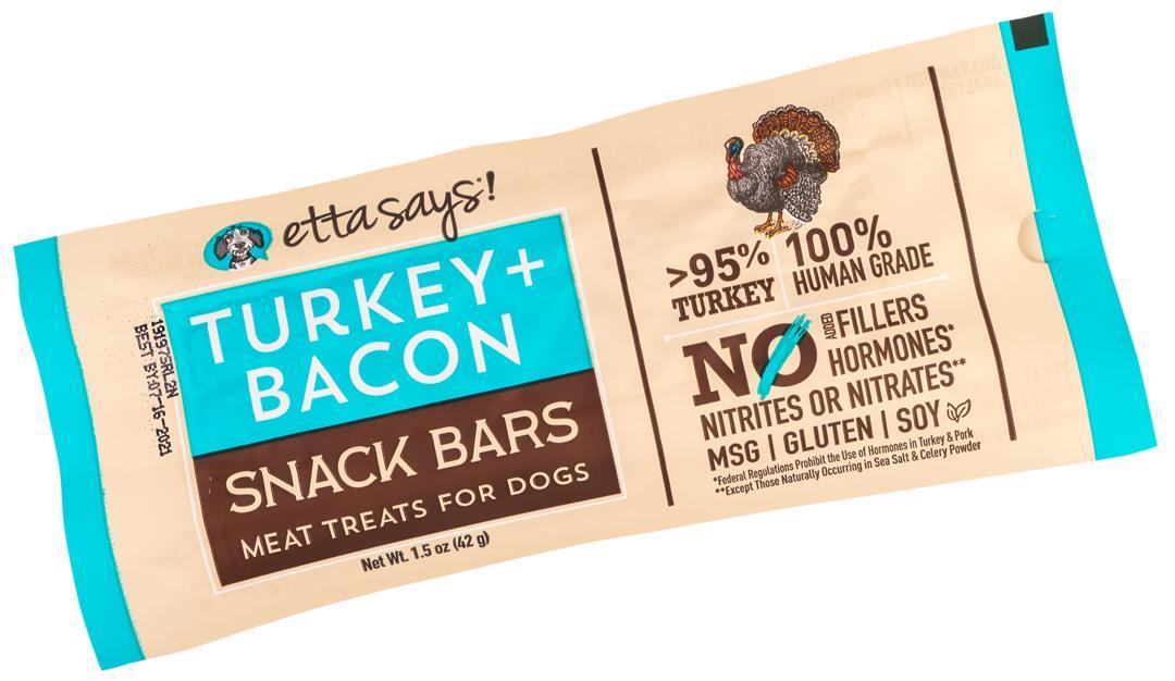 Etta Says! Turkey + Bacon Snack Bars Dog Treats, 1.5-oz, 1-count