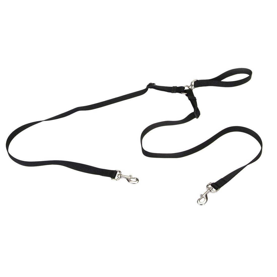 Coastal Two Dog Walker Tangle-Free Adjustable Dog Leash, Black, 5/8-in x 4-ft