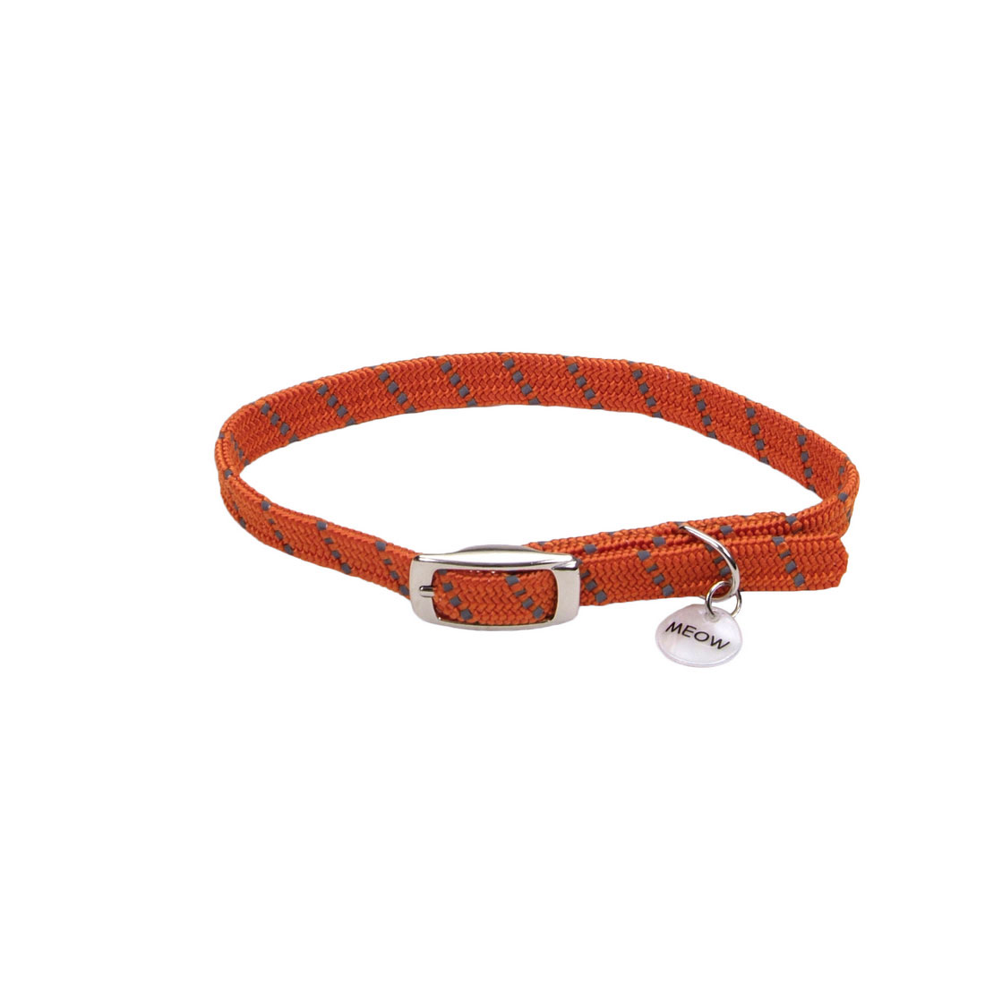 ElastaCat Reflective Safety Stretch Collar with Reflective Charm for Cats, Orange, 10-in