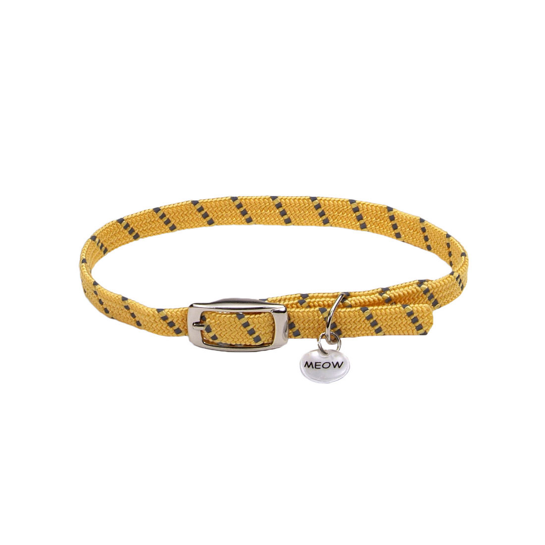 ElastaCat Reflective Safety Stretch Collar with Reflective Charm for Cats, Yellow, 10-in (Size: 10-in) Image