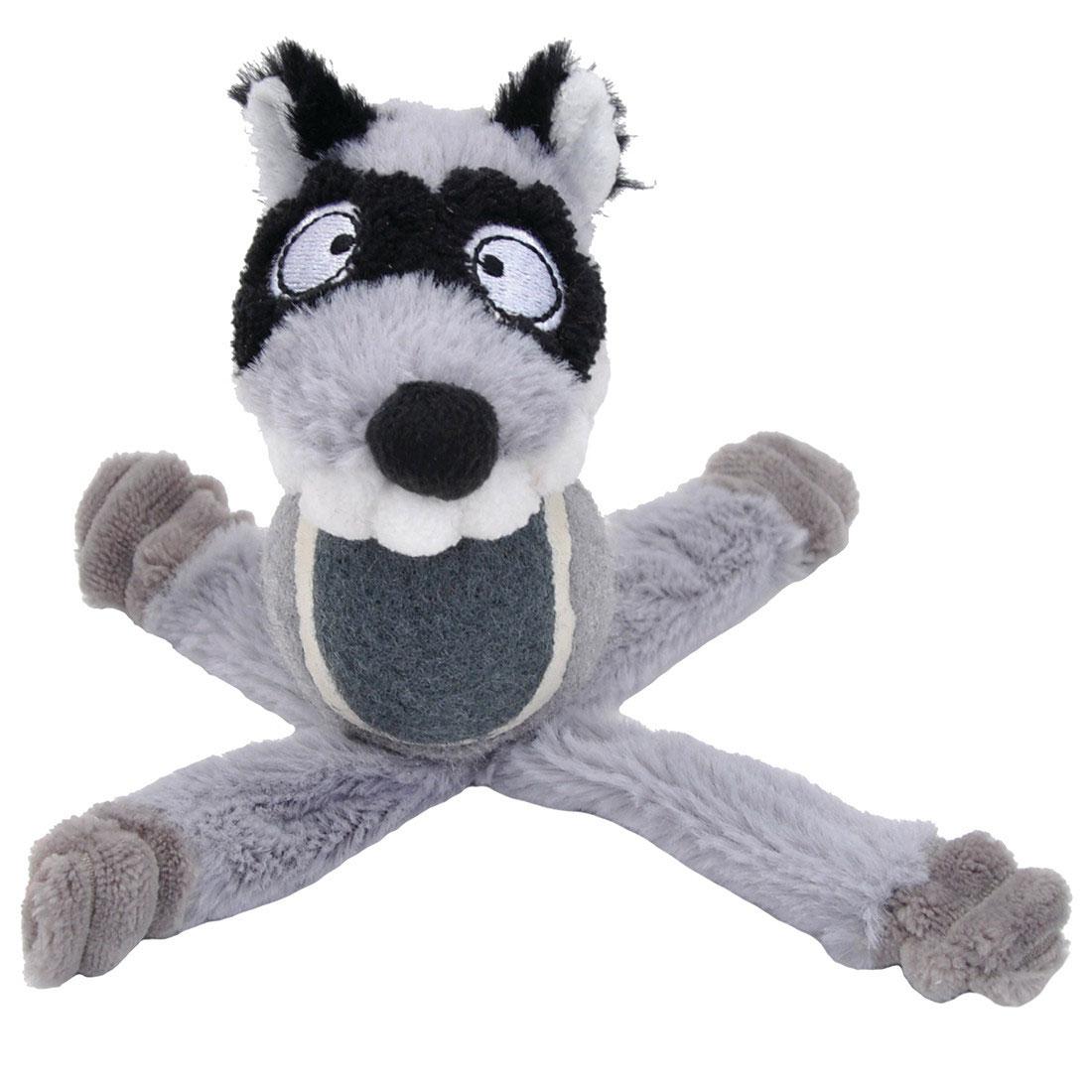 Li'l Pals Tennis Ball Raccoon Plush Dog Toy, 6-in