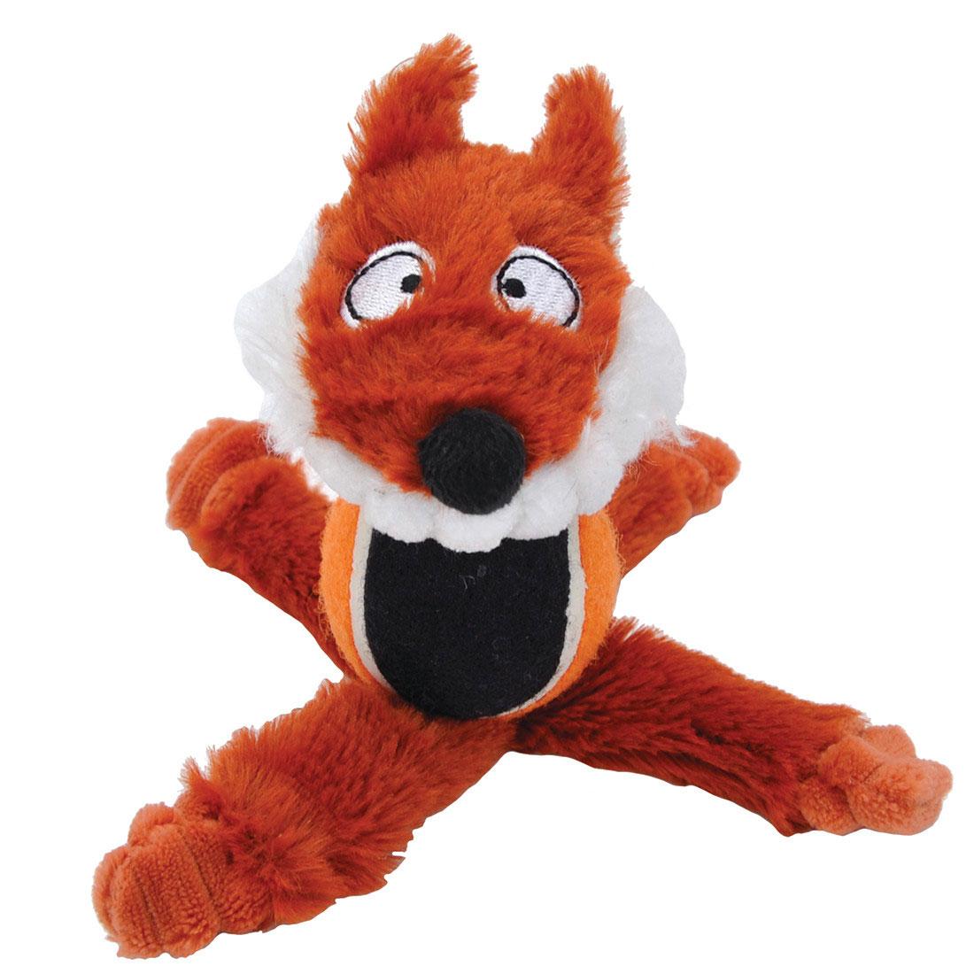 Li'l Pals Tennis Ball Fox Plush Dog Toy, 6-in