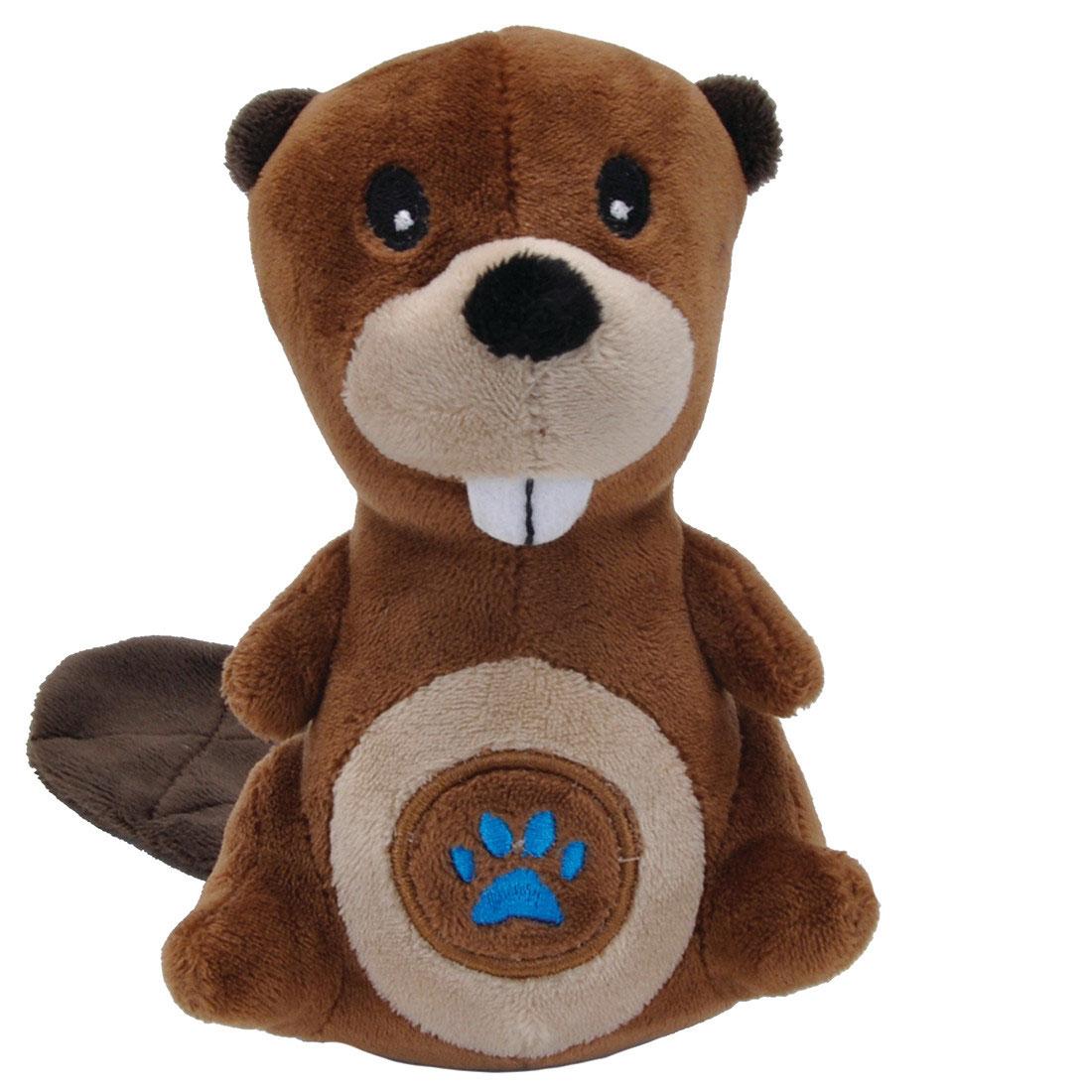 Li'l Pals Paw Beaver Plush Dog Toy, 5-in