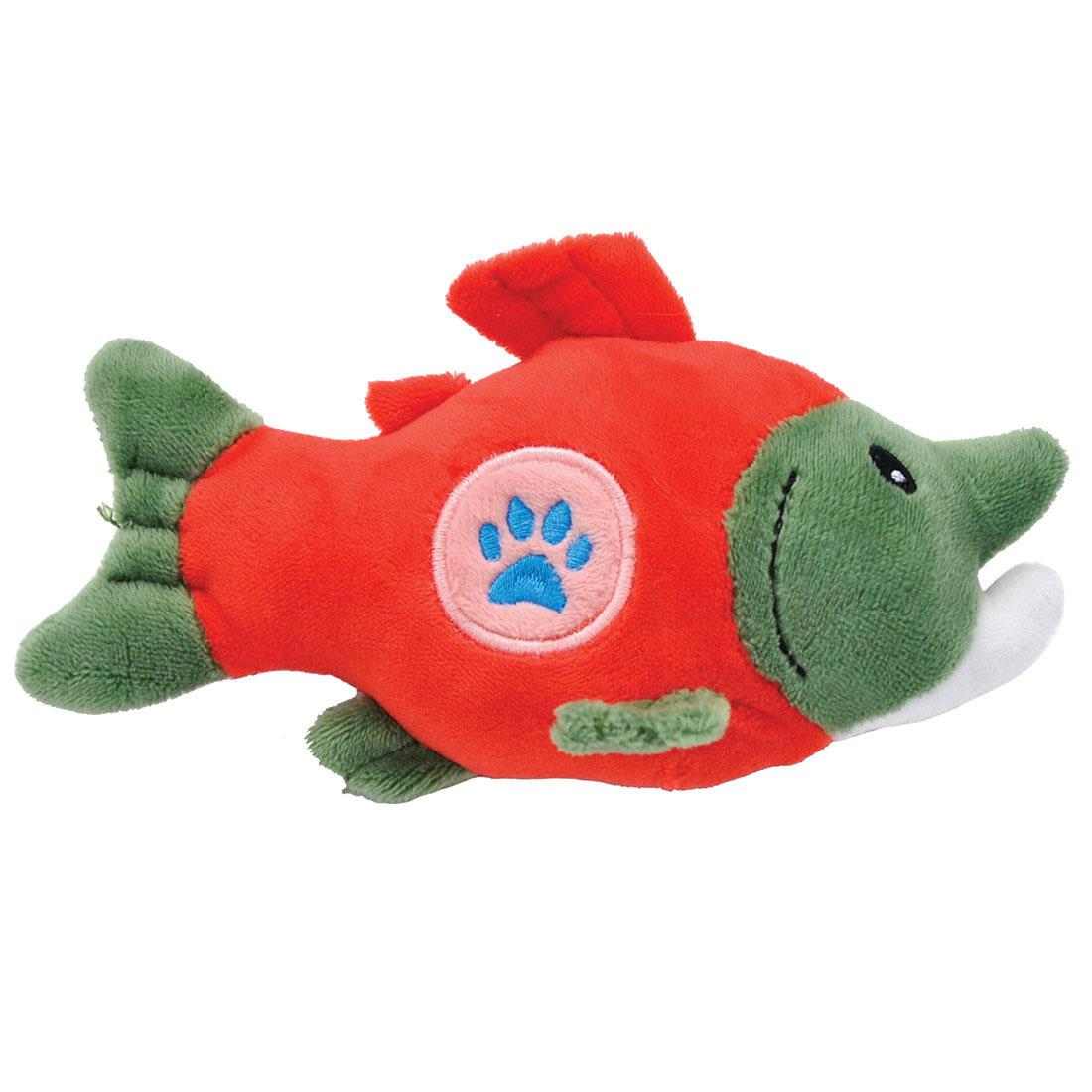 Li'l Pals Paw Salmon Plush Dog Toy, 5-in