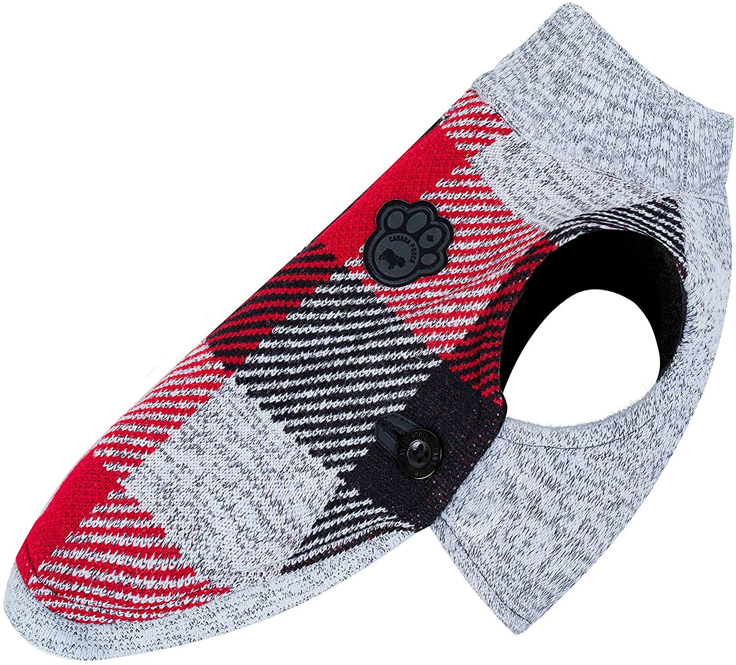 Canada Pooch Northern Knit 2.0 Dog Sweater, Plaid, 18-in