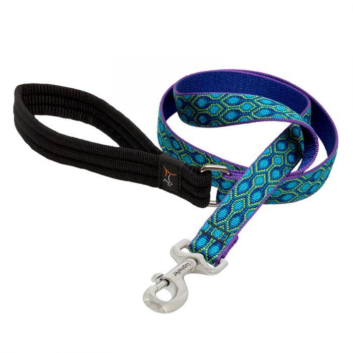 Lupine Pet Original Designs Padded Handle Dog Leash, Rain Song, 1-in x 6-ft