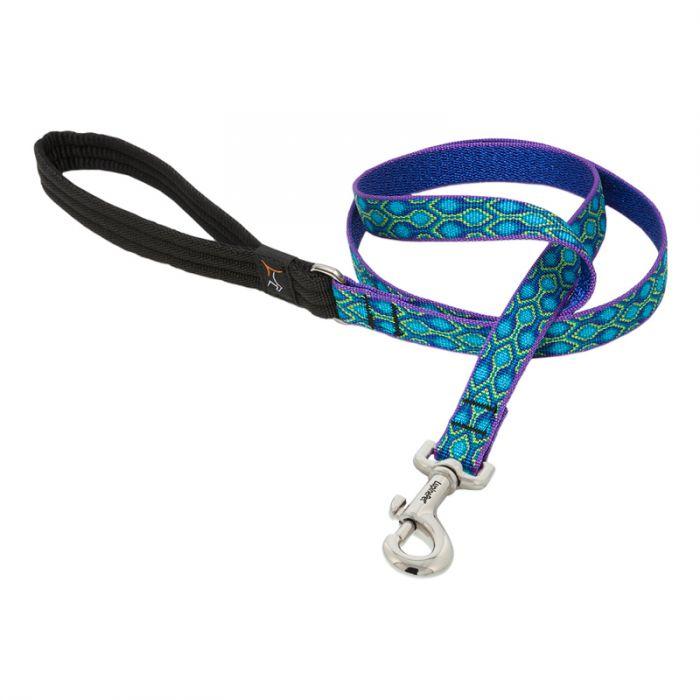 Lupine Pet Original Designs Padded Handle Dog Leash, Rain Song, 3/4-in x 6-ft