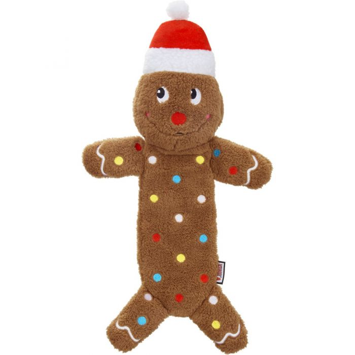 KONG Holiday Low-Stuff Speckles Gingerbread Man Dog Toy