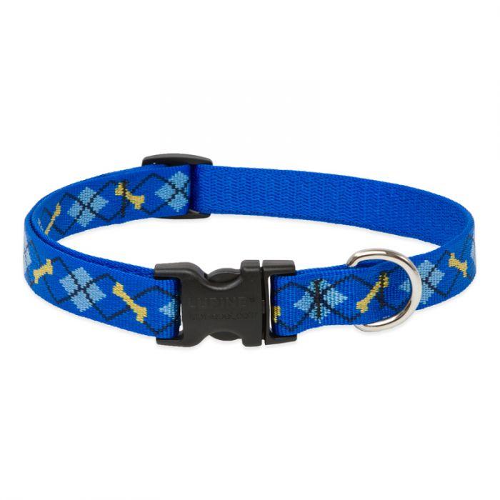 Lupine Pet Original Designs Adjustable Dog Collar, Dapper Dog, 3/4-in x 13-22-in