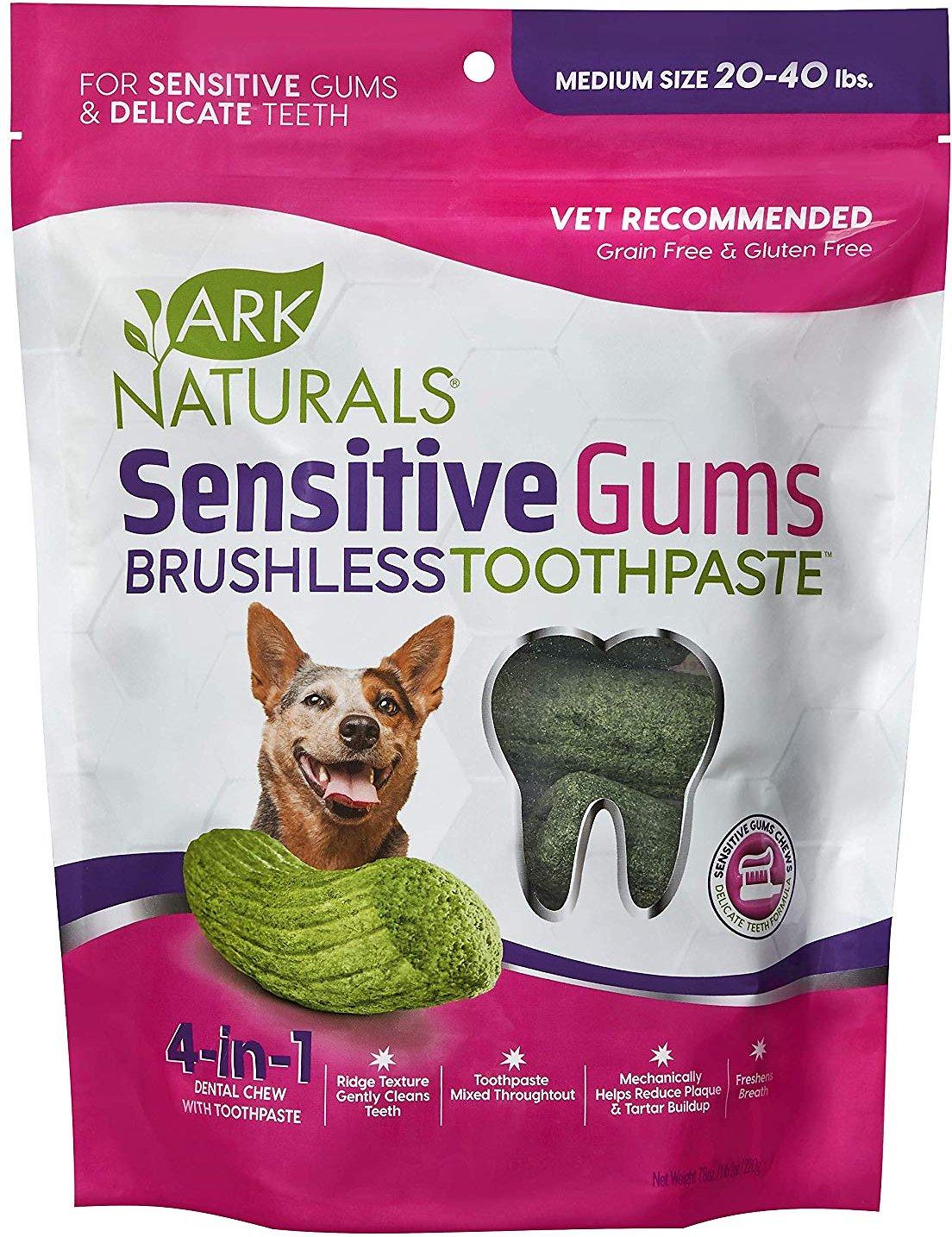 Ark Naturals Sensitive Gums Brushless Toothpaste 4-in-1 Dog Dental Chews, 7.8-oz