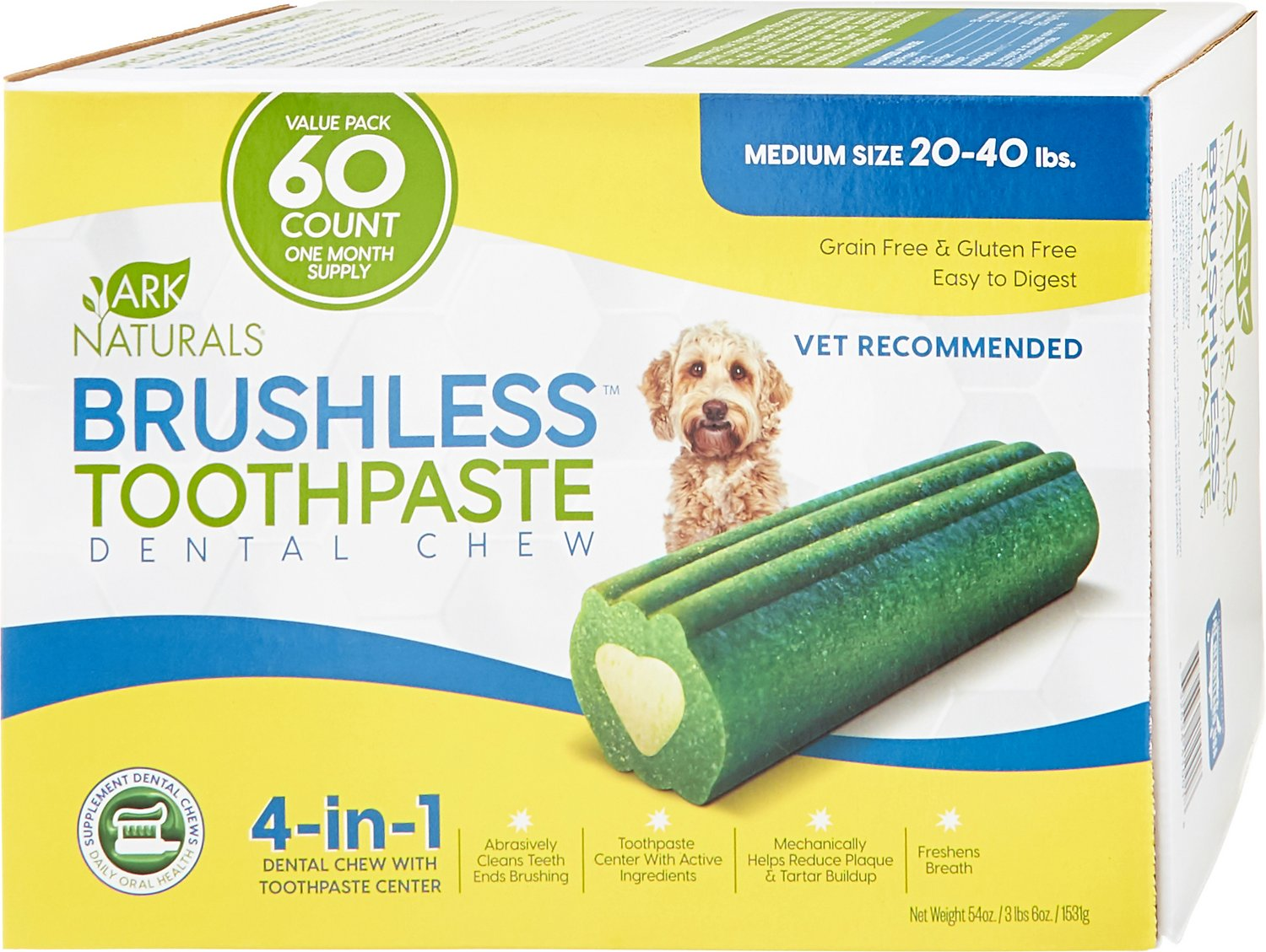 Ark Naturals Brushless Toothpaste Medium Dental Dog Chews, 60-count