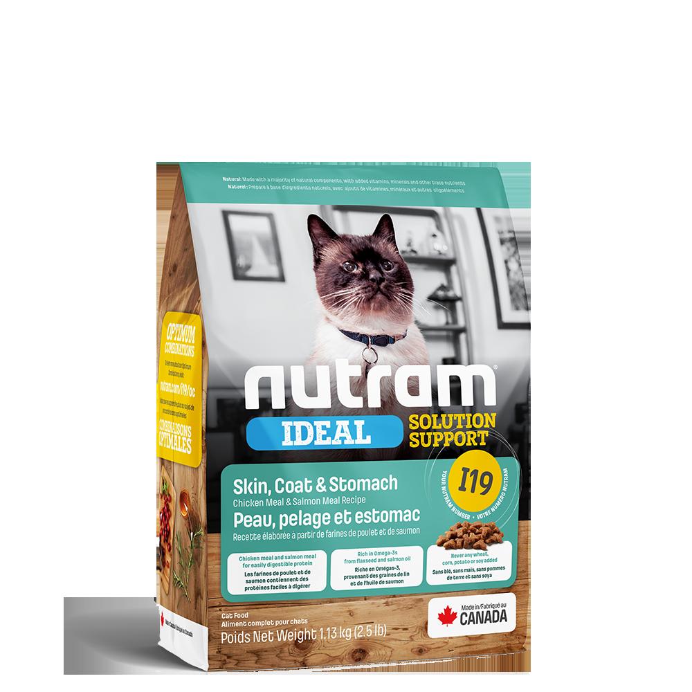 Nutram Ideal I19 Solution Support Skin, Coat & Stomach Cat Food, 1.13-kg