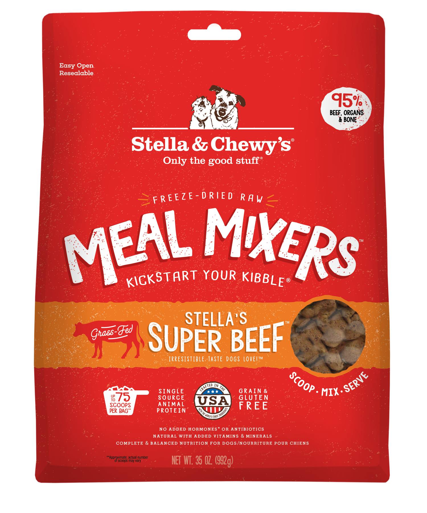 Stella & Chewy's Stella's Super Beef Meal Mixers Grain-Free Freeze-Dried Dog Food Image