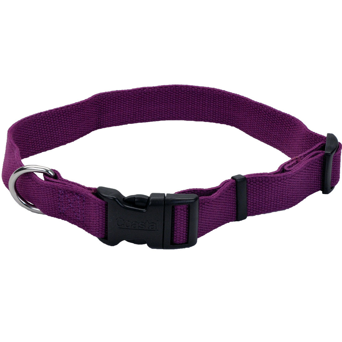 New Earth Soy Adjustable Dog Collar, Eggplant, 3/8-in x 6-8-in