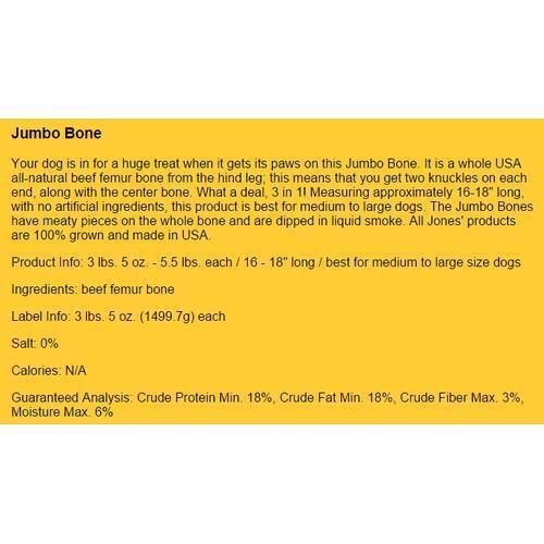 "Jones Natural Jumbo Bone Large Dog Chew, 16-18"""