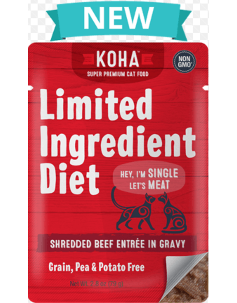 Koha Cat Limited Ingredient Diet Pate Beef Cat Wet Food, 2.8-oz Pouch