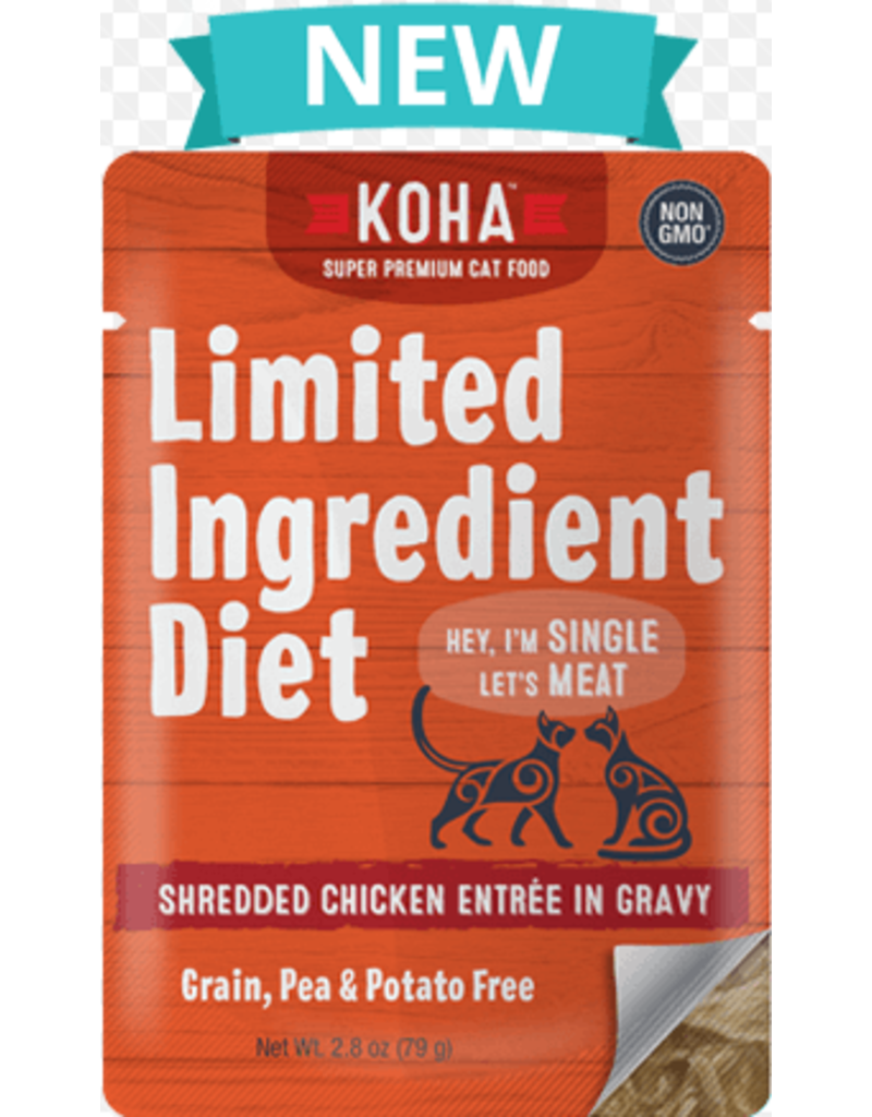 Koha Cat Limited Ingredient Shredded Chicken Entree in Gravy Wet Cat Food, 2.8-oz Pouch