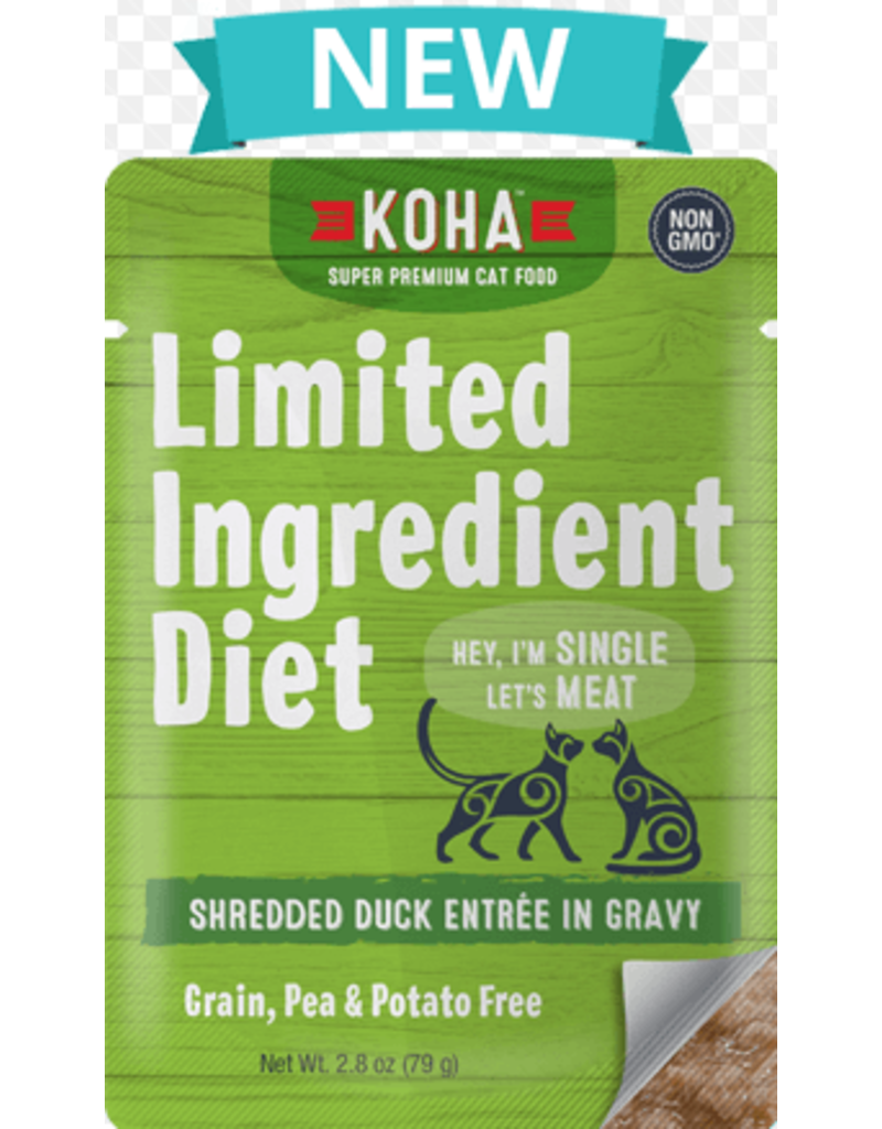 Koha Cat Limited Ingredient Shredded Duck Entree in Gravy Wet Cat Food, 2.8-oz Pouch