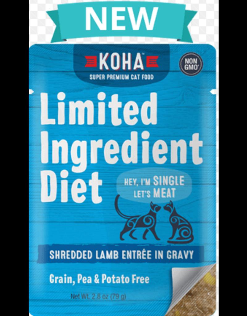 Koha Cat Limited Ingredient Shredded Lamb Entree in Gravy Wet Cat Food, 2.8-oz Pouch