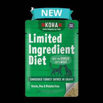 Koha Cat Limited Ingredient Shredded Turkey Entree in Gravy Wet Cat Food, 2.8-oz