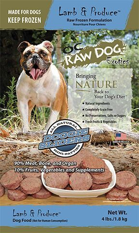 OC Raw Dog Lamb & Produce Sliders Raw Frozen Dog Food, 4-lb