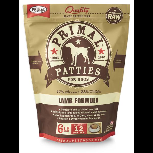 Primal Raw 8-oz Patties Lamb Formula Raw Frozen Dog Food