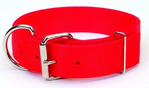 Macho Dog Double-Ply Dog Collar with Roller Buckle, Red, 1 3/4-in x 28-in