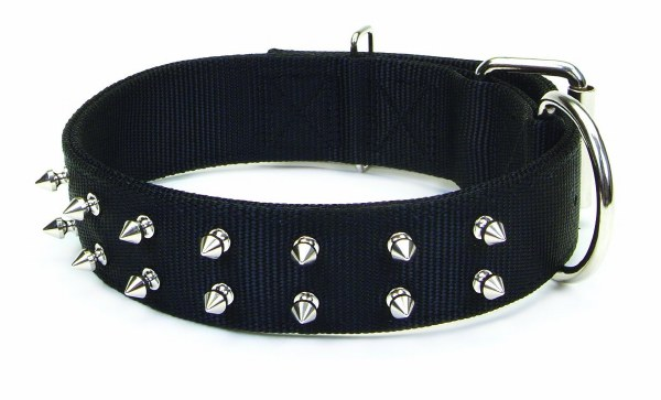 Macho Dog Double-Ply Spiked Dog Collar with Roller Buckle, Black, 1 3/4-in x 22-in