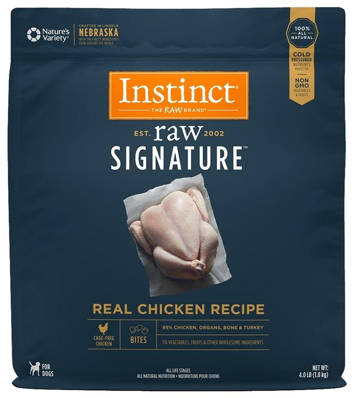 Instinct by Nature's Variety Raw Signature Real Chicken Recipe Frozen Bites Dog Food, 4-lb