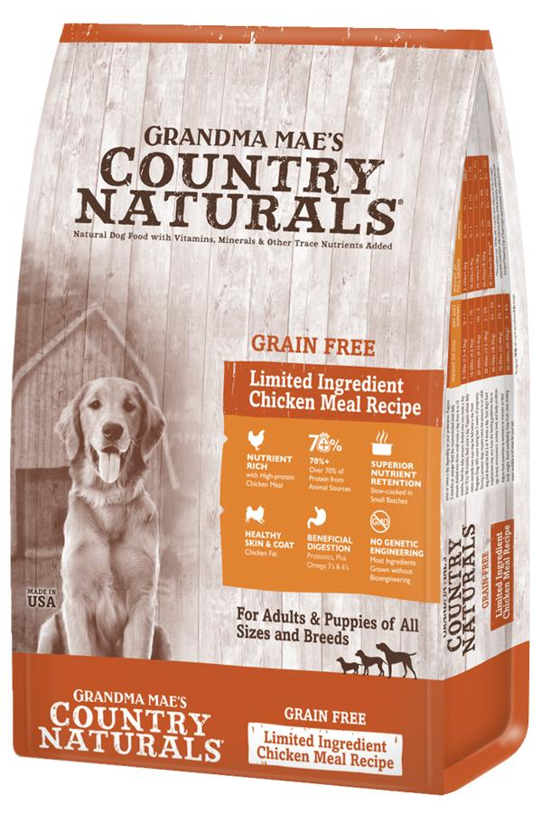 Grandma Mae's Country Naturals Chicken Meal Limited Ingredient Grain-Free Dry Dog Food, 4-lb
