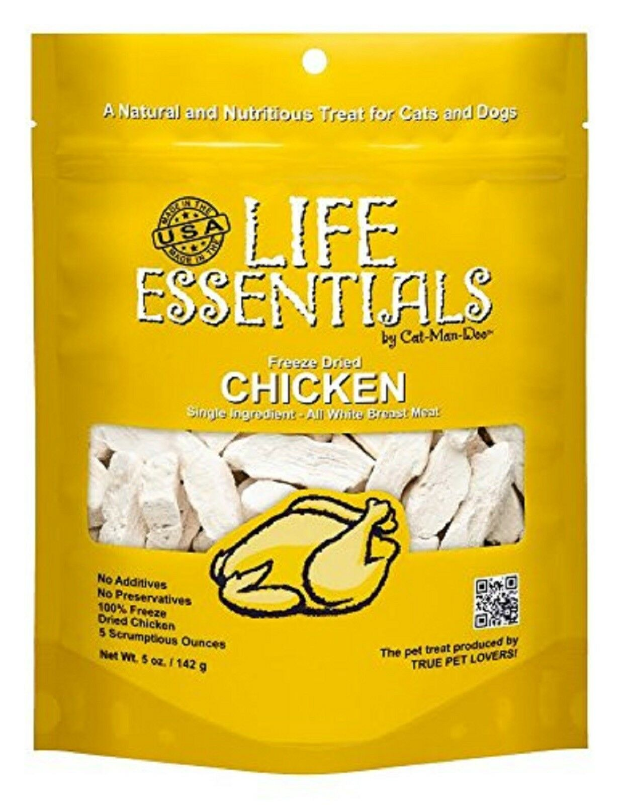 Life Essentials Chicken Freeze-Dried Cat & Dog Treats, 5-oz Size: 5-oz bag, Weights: 4.96 ounces