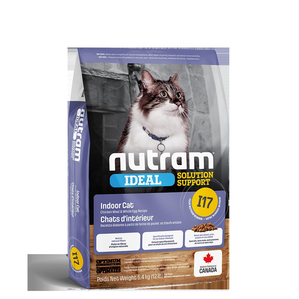 Nutram Ideal I17 Solution Support Indoor Cat Food, 5.4-kg