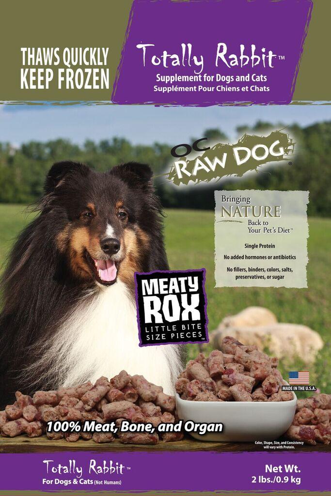 OC Raw Dog Totally Rabbit Meaty Rox Raw Frozen Dog & Cat Supplement, 2-lb